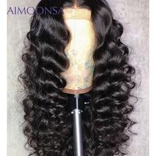 Свободный волнистый парик бесклеевого парики 180 плотность черный парик для Для женщин человеческих волос с ребенком волос натуральный парик Волосы remy Aimoonsa