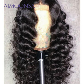 Loose Wave Wig Glueless Full Lace Wigs 180 Density Black Wig For Women Human Hair With Baby Hair Natural Wig Remy Hair Aimoonsa