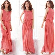 New Summer Bohemian Women Ankle-Length Chiffon Dresses Long Beach Dress Pure Color Vestidos High Quality 8 Colors XXXL