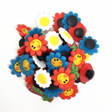 Wholesale 50pcs Random Mixed Smile Flower Shoe Decoration Shoe Charms fit Children Croc shoes Accessories Birthday Party Gifts