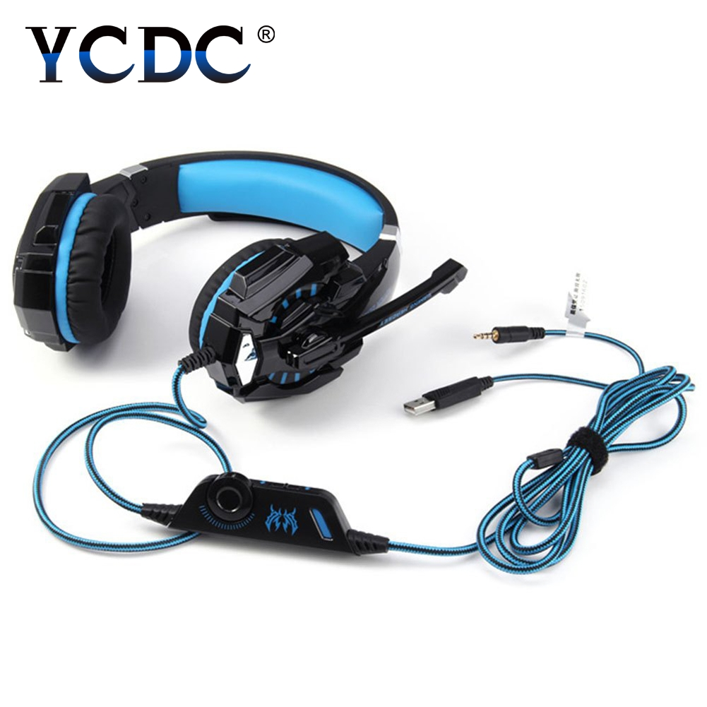 YCDC EACH G9000 3.5MM Stereo Gaming Headset Best casque Deep Bass Gamer Headphones with Mic LED Light for Computer PC PS4 Gamer gaming headphone casque kotion each g2000 best computer stereo deep bass game earphone headset with mic led light for pc gamer