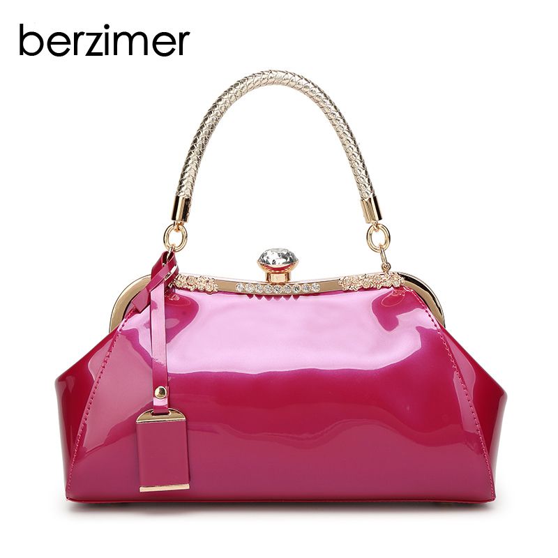 BERZIMER Luxury Women Handbags Famous Brand Fashion Black Beige Blue Red Fushcia Pink Wine Red Tote Shoulder Bags for Women 2018 цена
