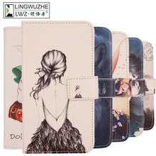 LINGWUZHE Cartoon Pattern Mobile Phone Cover Wallet Style PU Leather Case For YU Yureka Plus 5.5''(China)