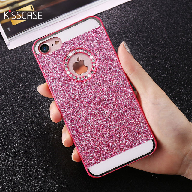 sale retailer cbe4f 09958 US $1.49 50% OFF|KISSCASE Glitter Bling Diamond Back Case For iPhone 4S 5  5S SE Luxury Phone Case For iPhone 7 Plus iPhone 6 6S Plus 6 6 S Cases -in  ...