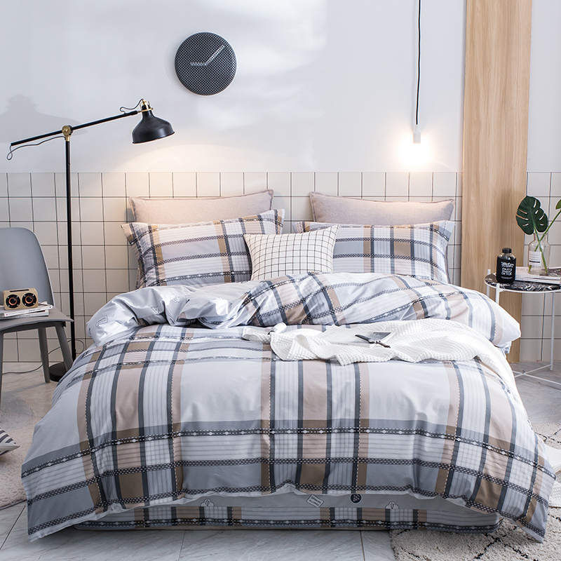 4pcs 100%Cotton Printed Fashion Color Bedding set Comfortable Soft Duvet Cover set Bed Sheet Pillowcases Queen King Size
