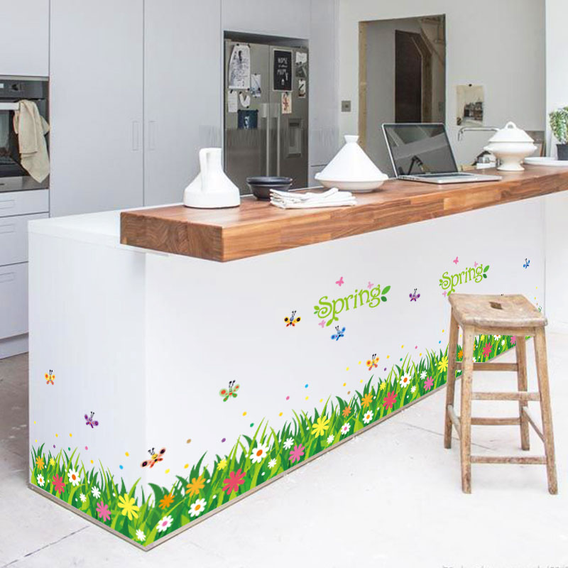 Green grass butterfly wall stickers font b home b font decor living room bedroom kitchen art