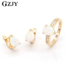 Gzjy maravilloso Sets lágrima ópalo de fuego blanco ZIRCON oro color Pendientes anillo Conjunto para las mujeres boda joyería de compromiso
