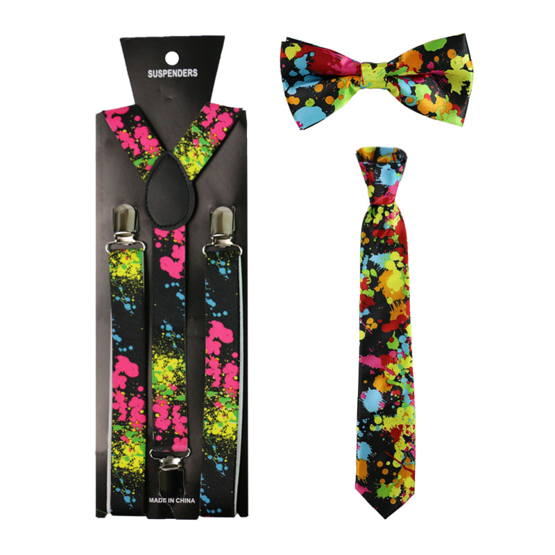 Colorful Graffiti Suspenders Bowtie Neck Tie Set Clip-on Y-Shape Back Women Men Elastic Shirt Stays Suspenders Suspensorio