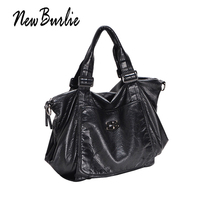 New Burlie PU Washed Handbags Women Shoulder Bags Hobos Handbag For Woman soft Messenger satchel Bags Women Leather casual tote