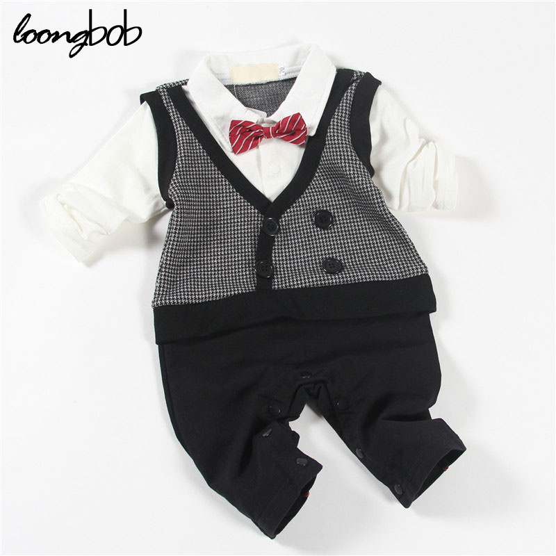 2016 Hottest Plaid Design Baby Boy One Piece Suit Newborn Red Striped Bow Tie Romper Infant Party Wedding Clothes
