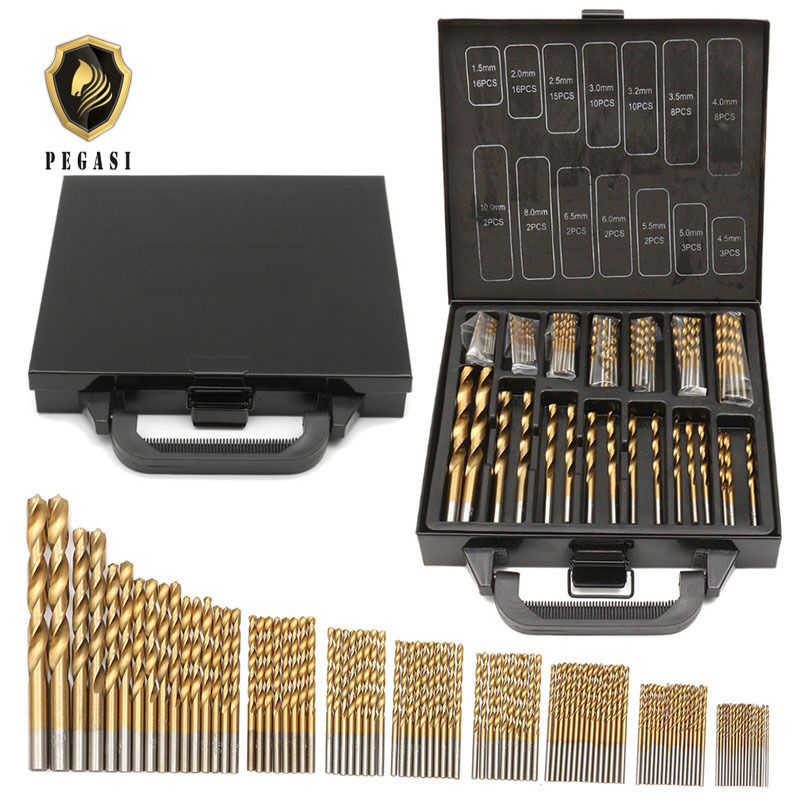 Top Quality 99pcs 1.5-10mm Titanium Coated HSS Twist Drill Bits Set And Case Plastic Wood Metal Drilling Tool Kit Box