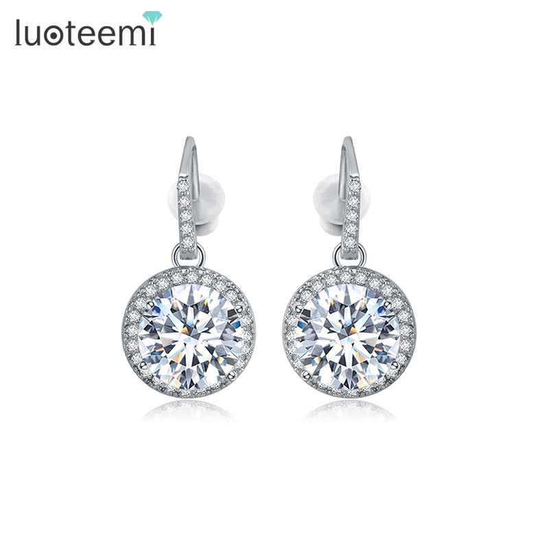 LUOTEEMI Hot Sell Fancy Design Formal Dress Party white gold plated Pave Setting Sparkling Crystal Cubic Zirconia Drop Earrings