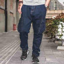 Japan Stil Baggy Hip Hop Dark Blue Jeans Männer Elastische Taille Cargo Jeans Jogger Hosen Plus Größe Cowboy Hosen 40 42 44 46