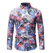Casual Hawaiian Shirt Mens Dress Slim fit Blouse Men Fashion Long sleeves White Blue New