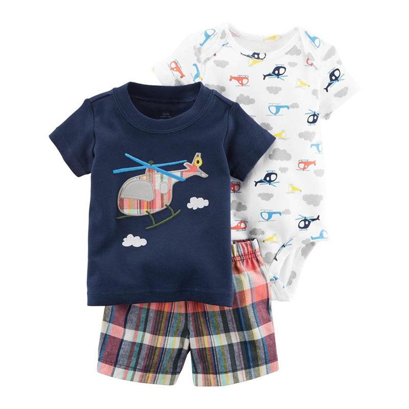 2018 комплект летней одежды для маленьких мальчиков 3 шт. Комбинезоны для малышек + Брюки для девочек + футболка комплект мультфильм вертолеты детская одежда Полосатый боди для новорожденных
