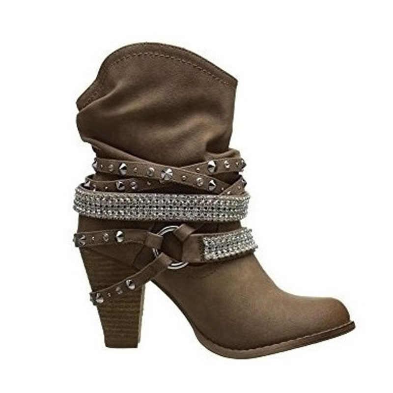 Moda de mujer PU Punk drapeado punta redonda tacón alto tobillo botas Metal decoración Martin botas hebilla Otoño Invierno señoras zapatos