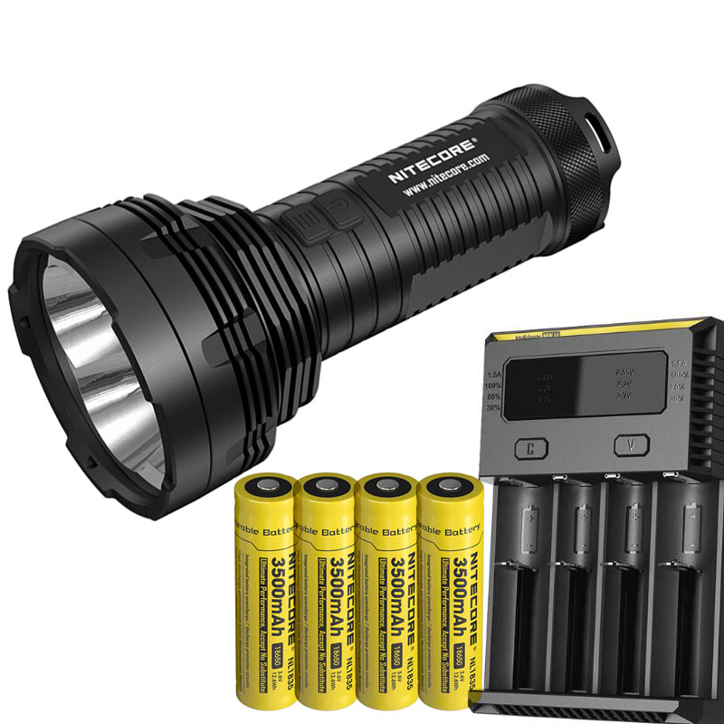 LED Flashlight <font><b>NITECORE</b></font> TM16 TM16W XM-L2 U2 LEDs max. 4000lm beam distance 700M + 4pcs * 18650 3500mAh batteries + <font><b>I4</b></font> <font><b>charger</b></font>