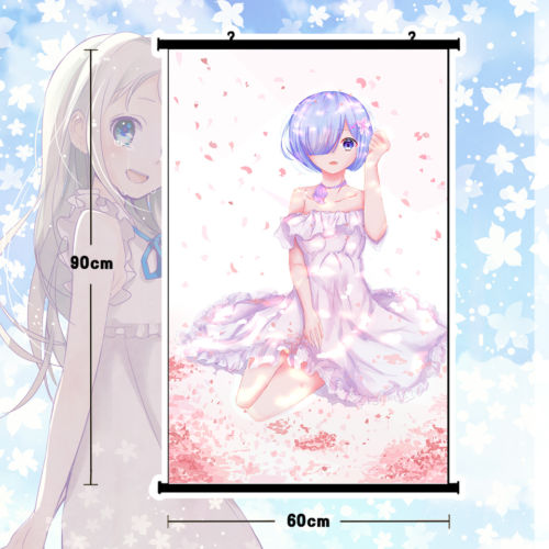 So Cute Anime Re:zero Rem Poster Wall Scroll Mural Home