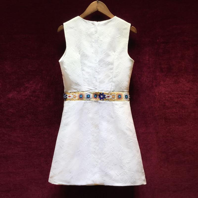 Wysokiej jakości kobiety projektant Runway sukienki 2018 nowy europejski w stylu Vintage drukowania ciężkie diamenty bez rękawów żakardowa sukienka w Suknie od Odzież damska na  Grupa 2