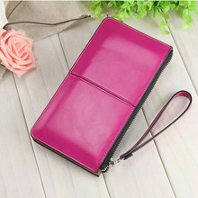 Fashion Women Wallet Oil Wax Pu Leather Candy Colors Zipper Multi-function Clutch Wrist Coin Wallet Purse Phone Bag