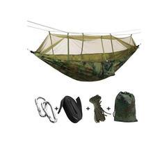 1 2 personne Extérieure Portative De Hamac De Camping avec Filet à Moustique Haute Résistance Parachute Tissu Lit Suspendu Chasse Couchage Balançoire