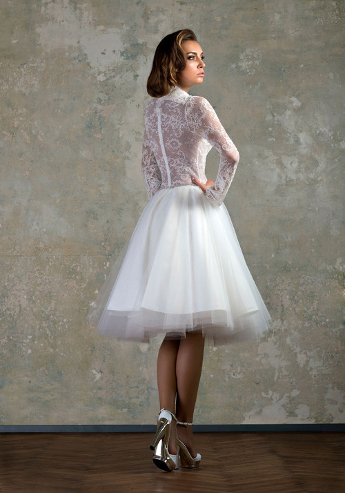 d3a1b1f7d202b White Short Wedding Dress Emprie V Neck Long Sleeves See Through Lace  Ruffles Elegant gypsy wedding dresses Bridal Dresses 2015-in Wedding Dresses  from ...