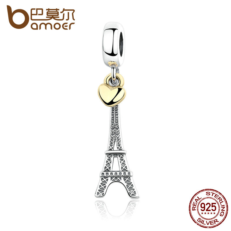 BAMOER Classic 925 Sterling Silver EIFFEL TOWER PENDANT CHARM with Heart Charms fit Bracelets Women Accessories PAS348 eiffel tower charm bangle