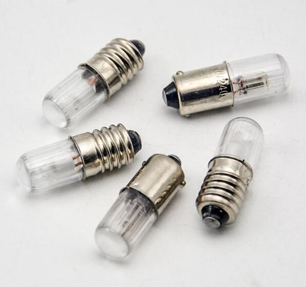 50pcs/lot E10 B9 Small Indicator Light Bulb Miniature Flashlamp Bulb For Instrument 6.3V 12V 24V 36v 48V 110V 220V 380V