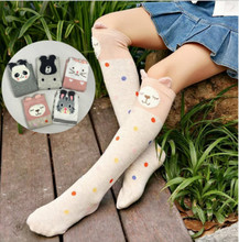 купить Cotton Knee High Socks For Kids Girl Print Cute Panda Cat Fox Cartoon Long Socks Children Winter Boot Socks Striped по цене 203.21 рублей