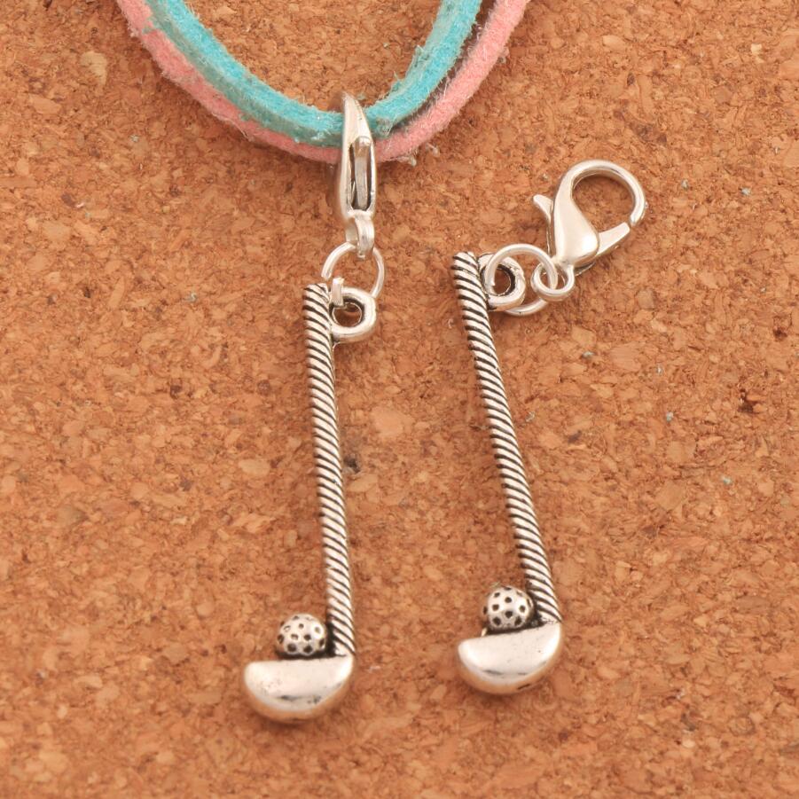 Golf Rod And Ball Sports Lobster Claw Clasp Charm Beads 46.3x7.8mm 100PCS Tibetan silver Jewelry DIY C239