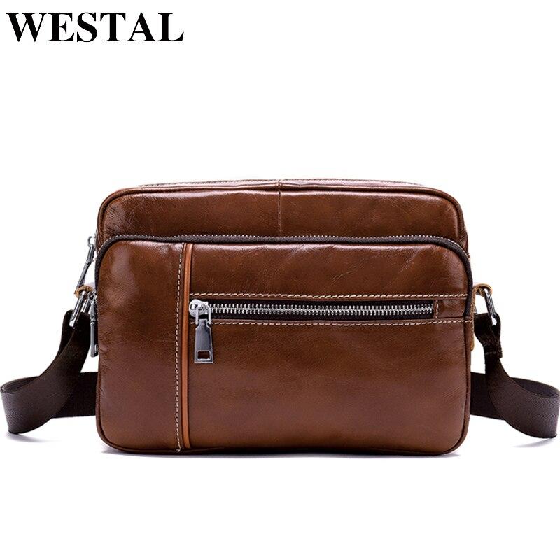 WESTAL Messenger Bag Men Leather Crossbody Bags for Man Satchels Cowhide Genuine Leather Shoulder Bags Male Bag New Arrival 8393
