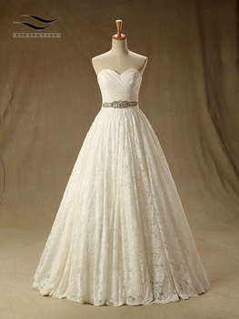Lace Pleat Floor-Length A Line L Sashes Wedding dress None Train Lace Up Bridal Gown Custom made Real Photos