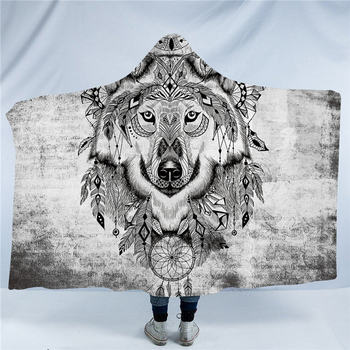 Tribal Wolf Hooded Blanket 2
