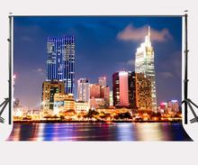 150x220cm City Night View Backdrop Modern Buildings Broad Road Photography Background