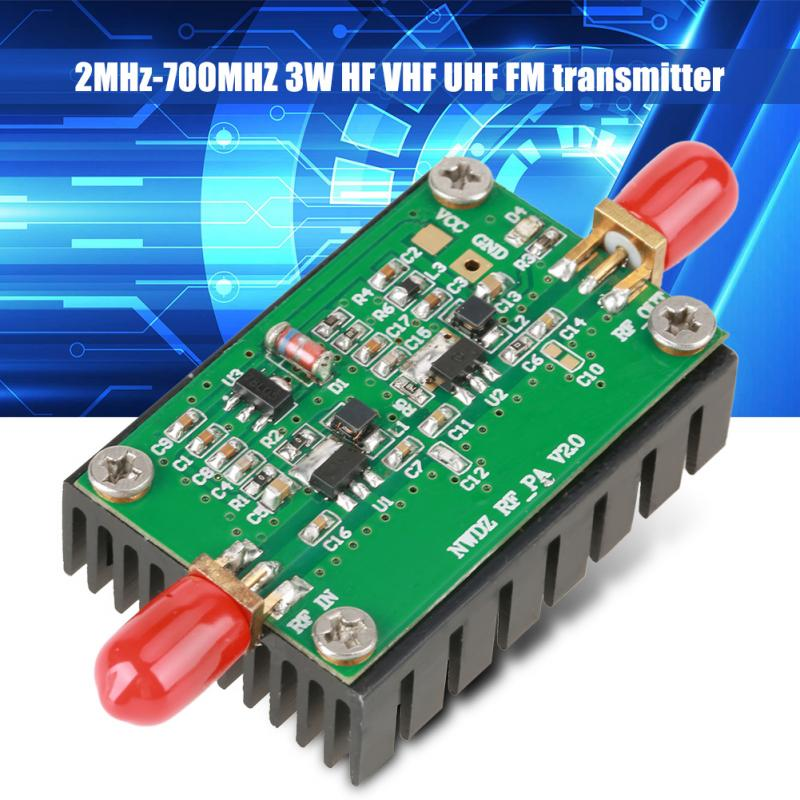 1 PC RF Amplifier 2MHz-700MHZ Broadband RF power amplifier 3W HF VHF UHF FM Transmitter RF Power Amplifier For Radio scuba dive light