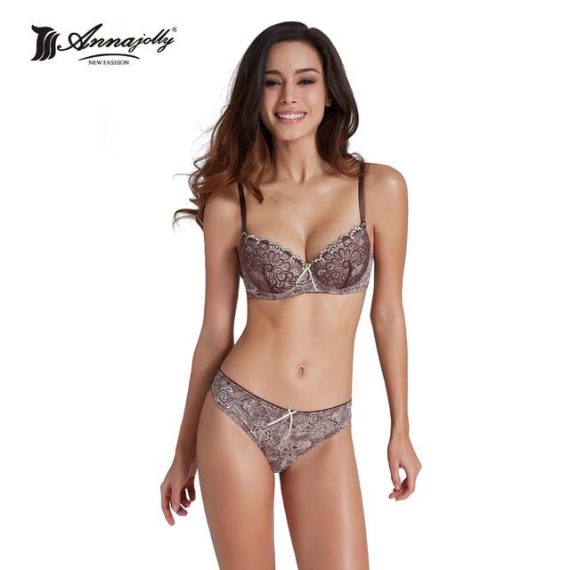 Annajolly Bras And Panties Women Top Bra Sets Sexy Push Up Brassiere Panties Briefs Blue Red Underwear Lingerie Brand New U8889