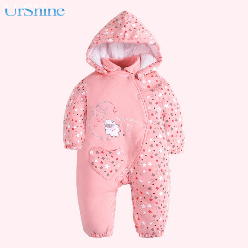 Winter Cotton Fabric One Piece Baby Girl Romper Winter Clothes Detachable Collar Heedies Outwear Infant Thermal Clothing 2018