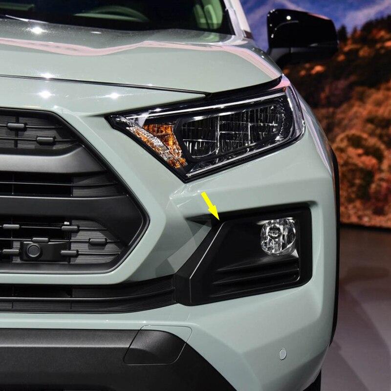 4 pièces Chrome accessoires extérieurs avant antibrouillard lumière couvercle garniture pour Toyota RAV4 2019 2020 ABS Fiber de carbone
