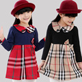 Новые Популярные плед Весна Осень с длинными рукавами платье Ребенка Детские платья с лук девушки одежда roupas infantil meninas N3