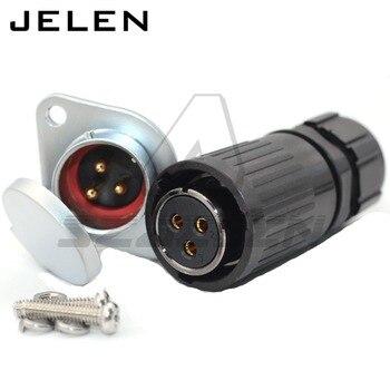 HE20 30A 12V 防水コネクタ IP67 電子に搭乗するプラスチックオスプラグ女性パネルマウントソケット -