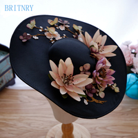 BRITNRY New Arrivals Vintage Wedding Hat Black Bridal Hat with Flowers Wedding Accessories