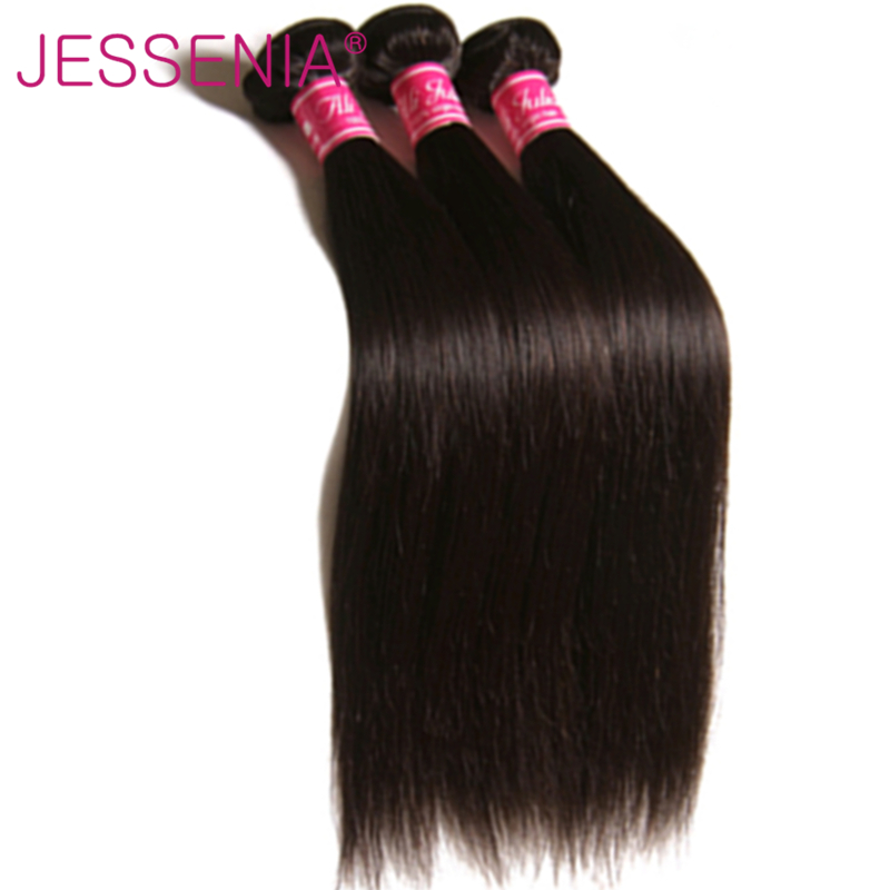 JESSENIA HAIR 3 Bundles Indian Hair Straight Human Hair Weaves Natural Color Remy Hair A ...