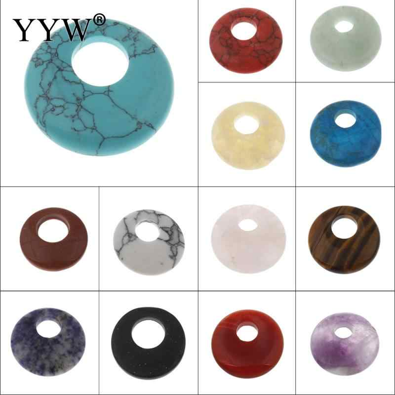 YYW Natural Real Gems Stone Jewelry Flat Round Donut Beads Lucky Women Men DIY Quartz Tiger Eye Sea Opal Rose Stone Pendants