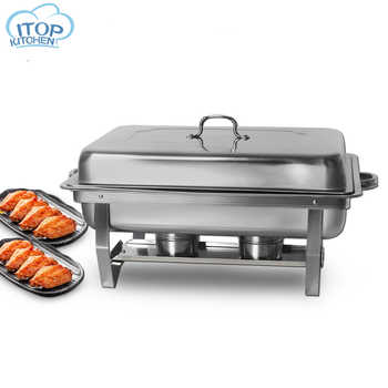 9L Chafing Dish Stainless Steel Buffet Catering 2 Food Pan Rectangular Chafing Dish Sets  Party Food Warmer Tray Utensil Set - DISCOUNT ITEM  30% OFF All Category