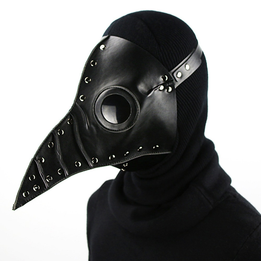 Plague Doctor Black White Mask Steampunk PU Leather Birds Mask Halloween Party Cosplay Accessories Long Nose Bird Masks