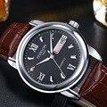 Montre Homme New Relógio de Luxo Mens Relógios de Couro Super Macio homens Data Dia Calendário de Quartzo Relógios de Pulso À Prova D' Água Para Os Homens 0287