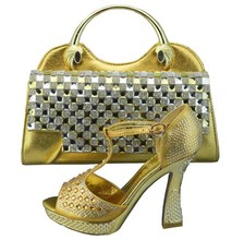 Fashion Design Italian Shoes And Matching Bags Set With Rhinestones Nigeria Wedding Shoes And Bag Set To Match 1308-35