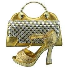 Mode-Design Italienische Schuhe Und Passende Taschen Set Mit Strass Nigeria Hochzeit Schuhe Und Tasche Set Entsprechen 1308-35