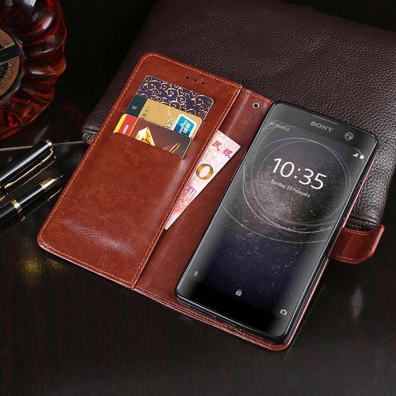 لسوني اريكسون XA2 زائد حالة سوني XA2 زائد حالة غطاء محفظة قلابة جلدية الهاتف الحقيبة لسوني اريكسون XA2 زائد XA2Plus حالة حقيبة