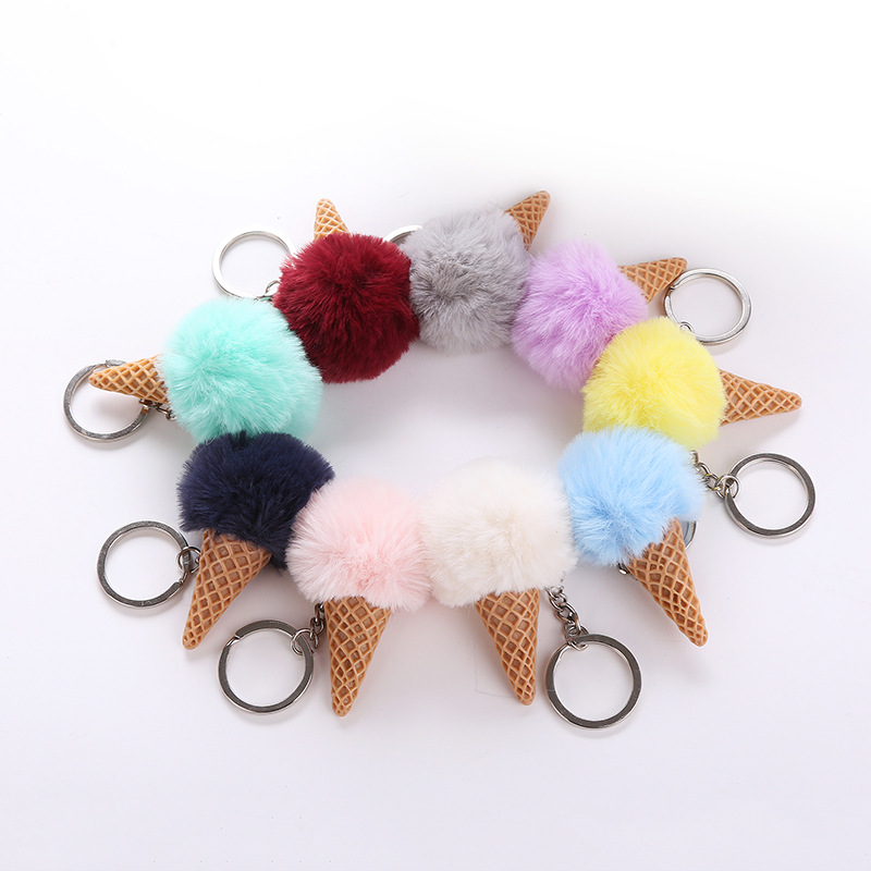 Fluffy Fur Ice Cream Keychain For Women Fuax Rabbit Furs Ball Pompom Key Chain Car Bag Keyring Pendant 9 Colors charming black lace crochet floral fuax crtstal heart pendant anklet for women